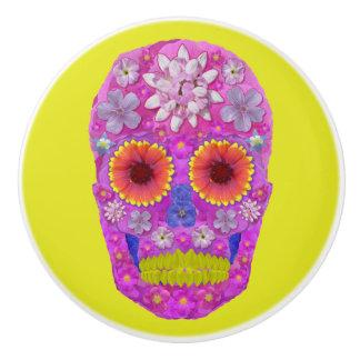 Flower Skull 2 Ceramic Knob