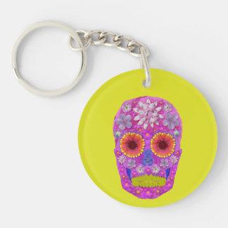 Flower Skull 2 Double-Sided Round Acrylic Key Ring