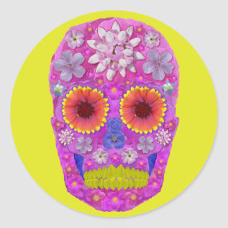 Flower Skull 2 Round Sticker