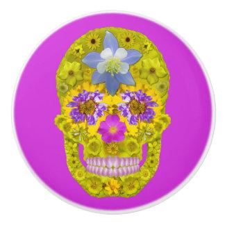Flower Skull 3 Ceramic Knob