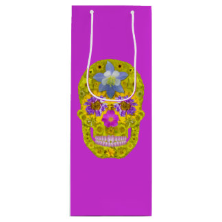 Flower Skull 3 Wine Gift Bag