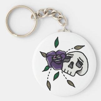 Flower // Skull Keyring. Basic Round Button Key Ring