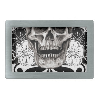 Flower & Skull Rectangular Belt Buckle