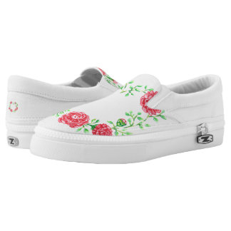 Flower slip on shoes printed shoes