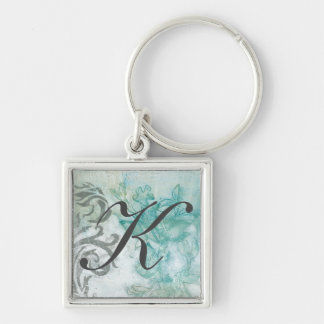 Flower Spray II Silver-Colored Square Key Ring