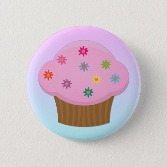 Flower Sprinkles Cupcake Button