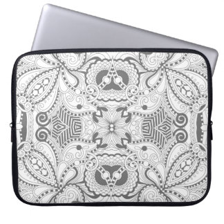 Flower Square Doodle Laptop Sleeve