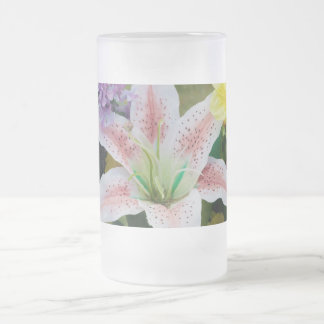 flower stein frosted glass mug