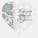 Flower Stencil Heart Sticker