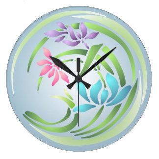 Flower Stencil Wall Clock
