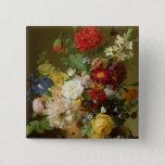 Flower Still Life on a marble ledge, 1800-01 15 Cm Square Badge