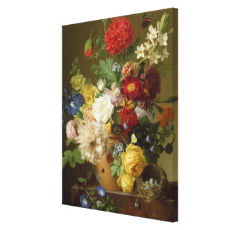 Flower Still Life on a marble ledge, 1800-01 Canvas Print