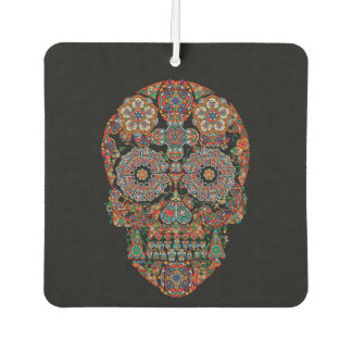 Flower Sugar Skull Car Air Freshener