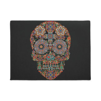Flower Sugar Skull Doormat