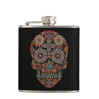 Flower Sugar Skull Flask