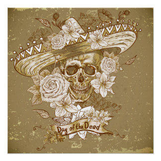 Flower Sugar Skull Perfect Poster