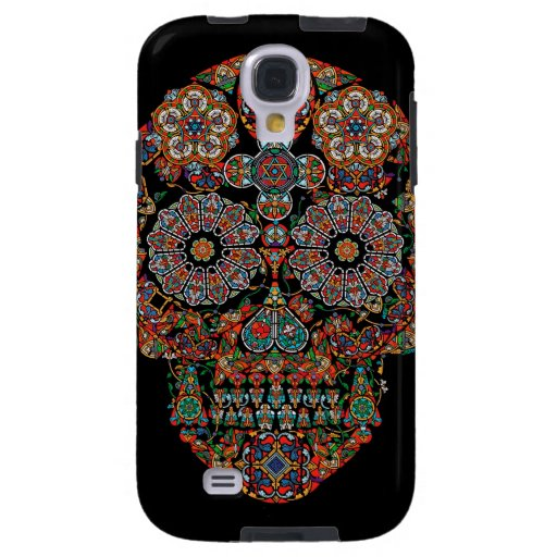 Flower Sugar Skull Samsung Galaxy S4 Case