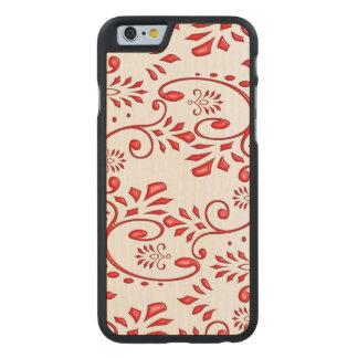 Flower swirl red henna tattoo carved® maple iPhone 6 slim case