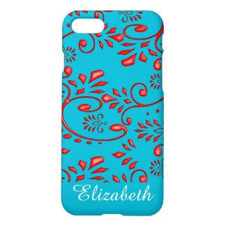 Flower swirl red henna tattoo iPhone 7 case