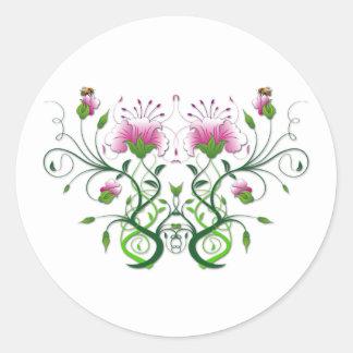 Flower Symmetry Round Sticker