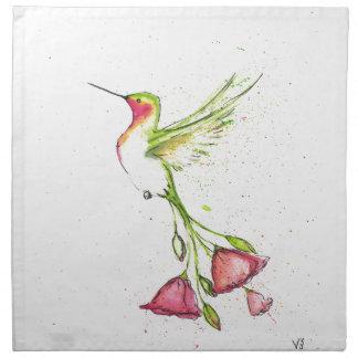 flower tail hummingbird napkin