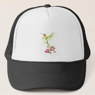 flower tail hummingbird trucker hat