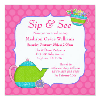 Flower Tea Cups Pink Polka Dot Sip and See Card