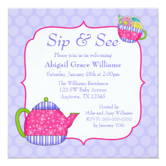 Flower Tea Cups Purple Polka Dot Sip and See Card