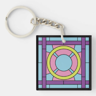 Flower Tile Art Deco Key Ring