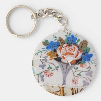 Flower tiles basic round button key ring