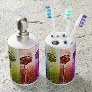 Flower toothbrush holder and soap dispenser