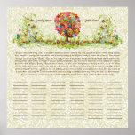 Flower Tree Print  Quaker Wedding Certificate