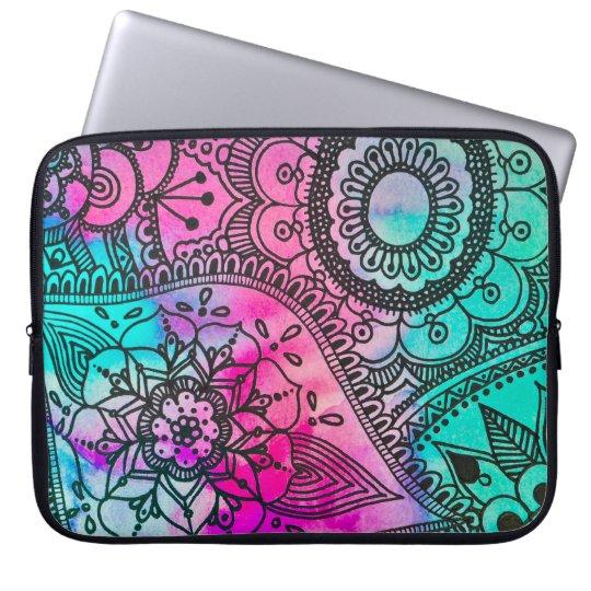 Flower Tribal Pattern Pink and Aqua Laptop Sleeve