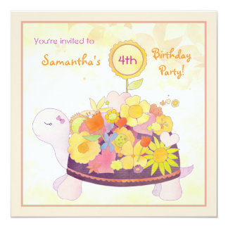 Flower Turtle Kids Birthday Party Card