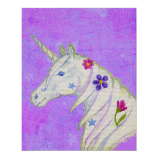 Flower Unicorn on Purple art print