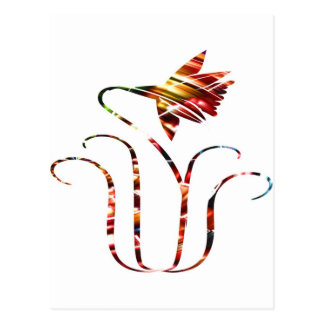 Flower V5 - Ornamental Red Sparkle Design Postcard