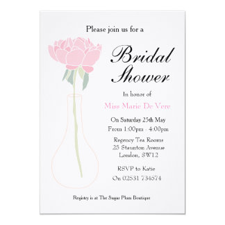 Flower vase peony floral bridal shower invitation