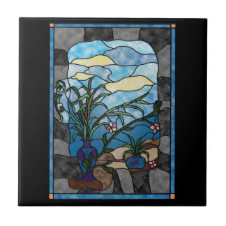Flower Vase Plant Vintage Stained Glass Style Tile