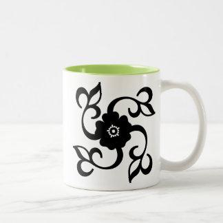 Flower & Vines Silhouette; Cool Two-Tone Mug