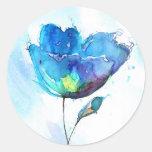 Flower watercolor round sticker
