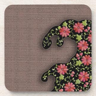 Flower wave japanese pattern coaster