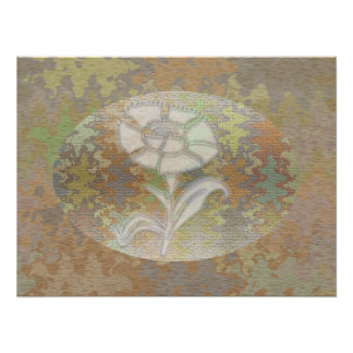 Flower White : Vintage Fabric Pattern Look Poster