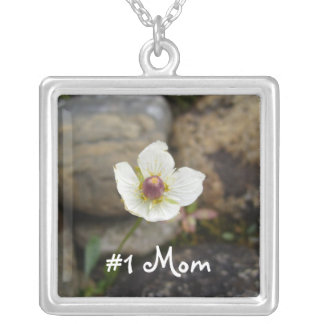 Flower with Soft Rock Background; Mothers Day Square Pendant Necklace