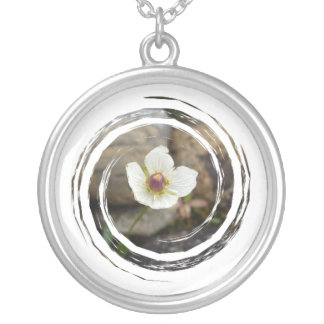 Flower with Soft Rock Background Round Pendant Necklace
