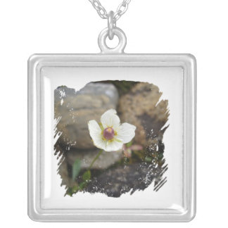 Flower with Soft Rock Background Square Pendant Necklace