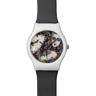 Flower woman wrist watch