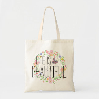 Flower Wreath and Butterfly BOHO Muslin Tote Bag