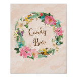 Flower Wreath Candy Bar Wedding Poster Print