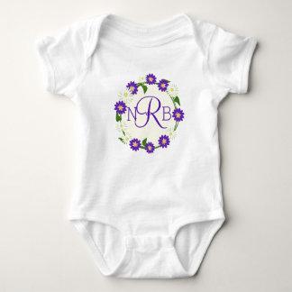 Flower Wreath Monogram Purple Baby Bodysuit