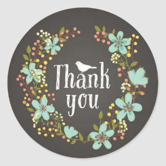 Flower Wreath Thank You Sticker